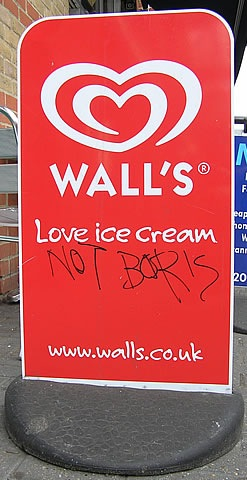 """Wall's love ice cream, not Boris"" says the board, although admittedly the last two words do rather look like they were added in marker pen..."